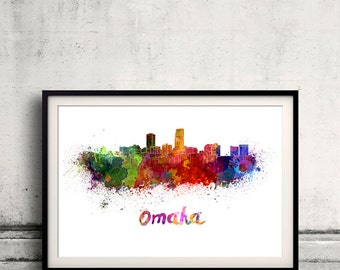 Omaha skyline in watercolor over white background with name of city 8x10 in. to 12x16 in. Poster Wall art Illustration Print  - SKU 0980