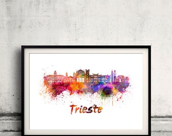 Trieste skyline in watercolor over white background with name of city 8x10 in. to 12x16 in. Poster Wall art Illustration Print  - SKU 0544