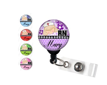 Personalized RN Badge reel, ID Badge holder, retractable badge reel, customized,