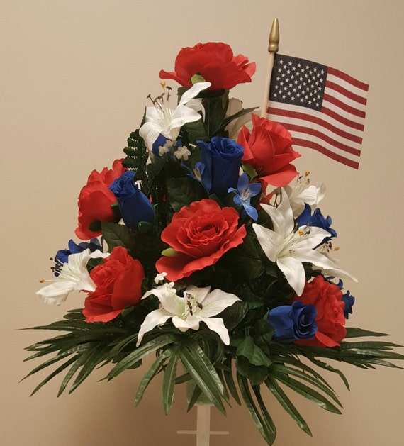 Patriotic red white and blue silk flower arrangement and flag for Red white blue flower arrangements