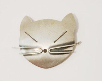 Sterling Cat Brooch.