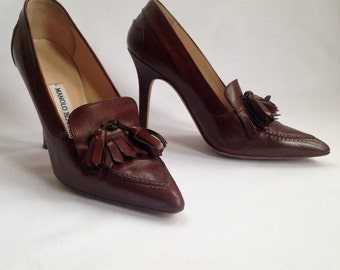 "Sale Signed MANOLO BLAHNIK Shoes ""King of Stilettos "" Brown Oxford Pump Heels w/Tassels SASSY in the City ~  38 1/8 - 8.5 Autographed 1995"