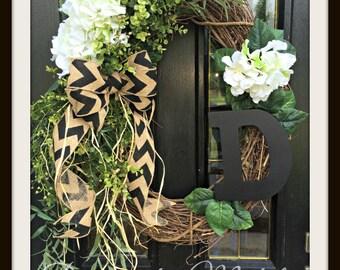 Monogram Floral Vine Wreath, BR111