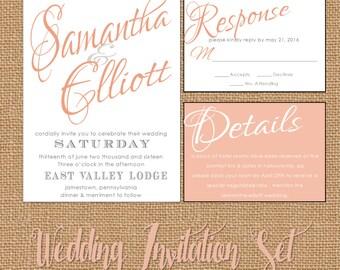 Coral Peach Wedding Invitation