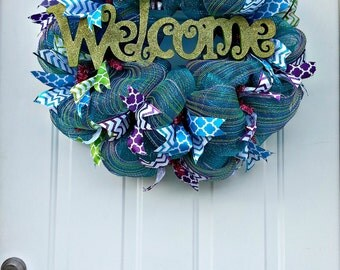 Sparkling Teal, Purple, and Green Deco Mesh Welcome Wreath
