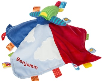 Personalized Taggies Wheelies Airplane Character Blanket - 13.5 Inch - Red Embroidery