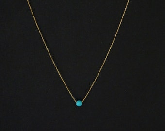 Turquoise Necklace, Dainty Bridesmaid Necklace, 14K Gold fill, Sterling silver. Rose gold fill, Simple everyday necklace