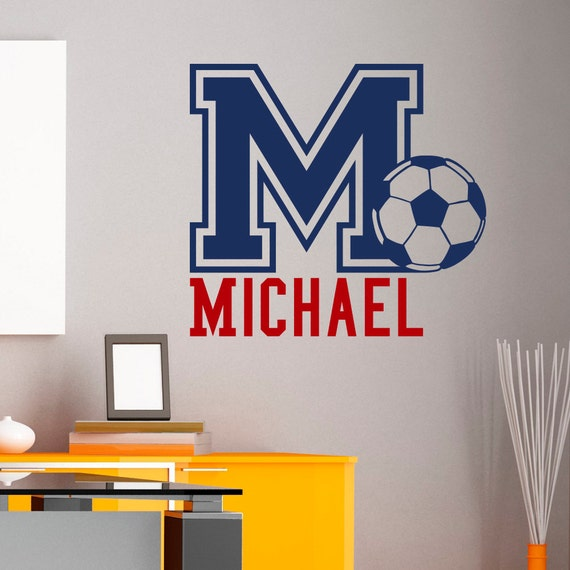 Initial Name Wall Decal Football Soccer Wall Decals Personalized ...