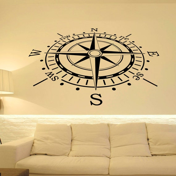 wall decal nautical compass rose wall decor north south west east compass wall art compass. Black Bedroom Furniture Sets. Home Design Ideas