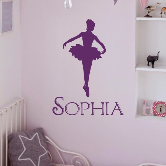 Ballerina wall decals girls name personalized by fabwalldecals for Ballerina wall mural