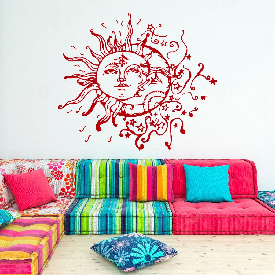 sun and moon vinyl wall decal sun moon crescent by fabwalldecals. Black Bedroom Furniture Sets. Home Design Ideas