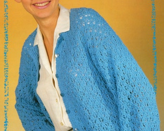 Knitting Pattern Ladies Cotton Lacy Cardigan 30 - 42 inches