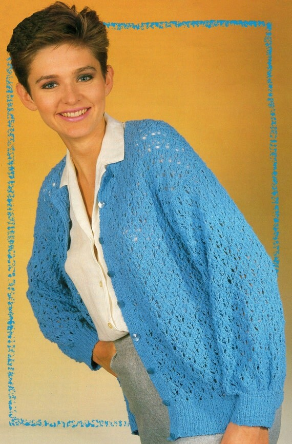 Knitting Pattern Cotton Cardigan : Knitting Pattern Ladies Cotton Lacy Cardigan 30 42 inches