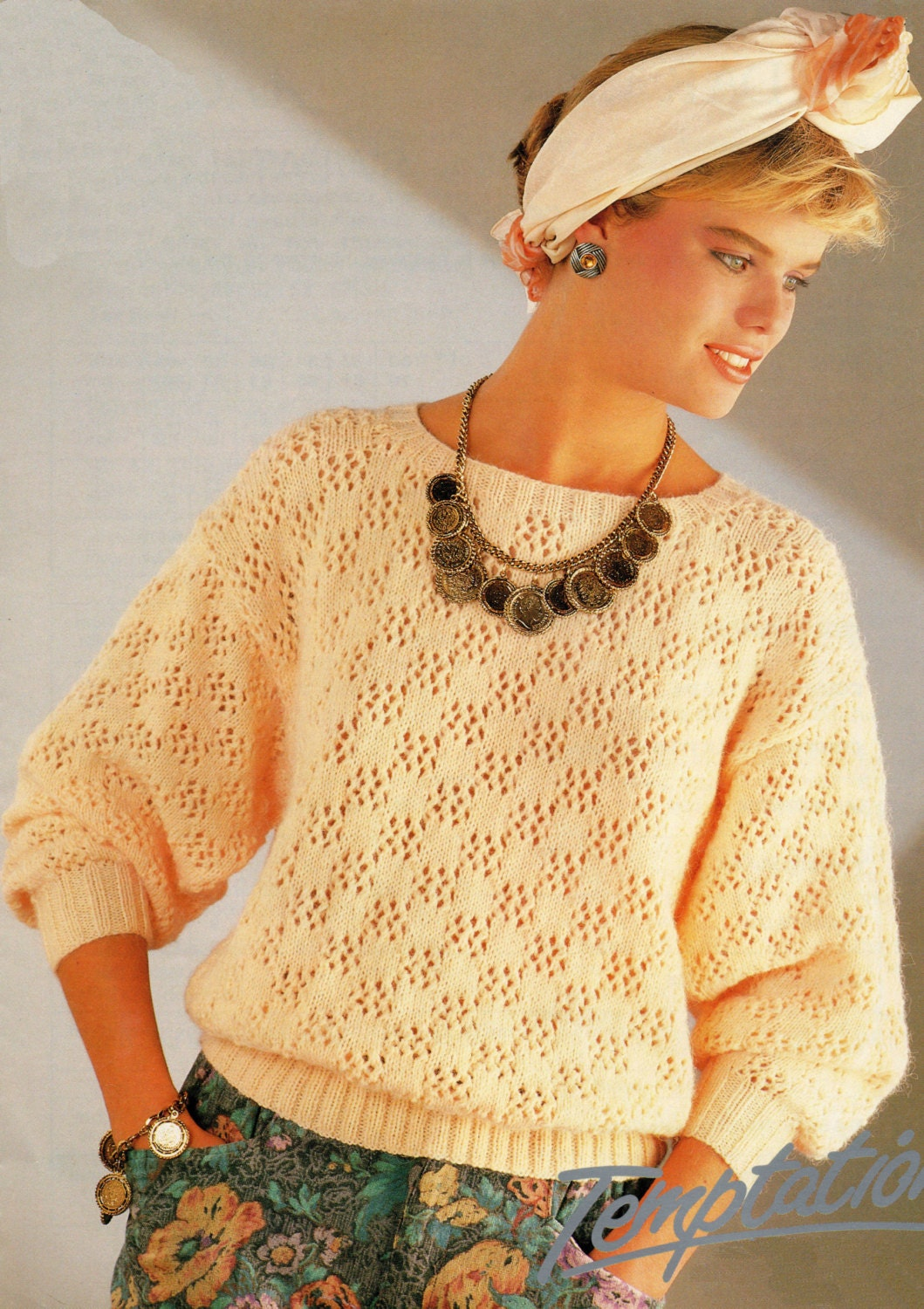 Knitting Pattern Pdf Ladies 80s Style Sweater From Pippaspatternshop On Etsy Studio
