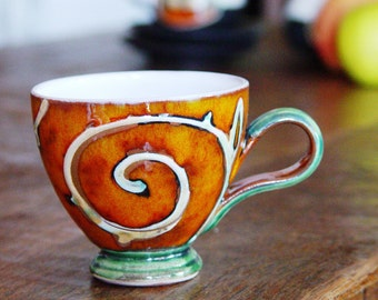 Handmade Ceramic Cup, Pottery Cup for Coffee or Tea. Earthen Mug, Pottery Espresso Coffee Cup, Wheel Thrown Pottery, Danko Pottery