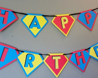 SUPERMAN INSPIRED BANNER/Super Hero Happy Birthday Pennant Banner for Super Hero Party