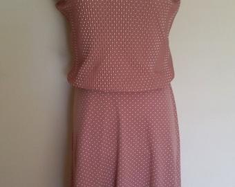 Pink 70's dress, S, M, pink dress, cowl neck dress, sleeveless dress, polka dot dress, blush pink dress, pastel dress