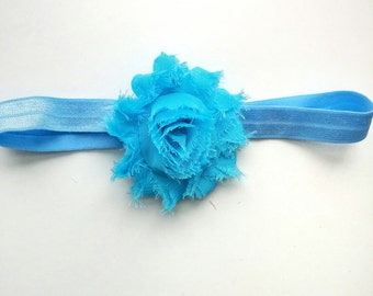 Blue baby headband, newborn headband, baptism headband, christening headband, baby headband, girls headband, baby bow, baby girl headband