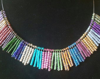 Colourful seed bead necklace.