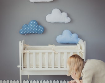 Kids Stuffed Cloud shaped pillow - Gift Ideas Baby Toddler Mobile - white blue nursery room decor, coussin peluche