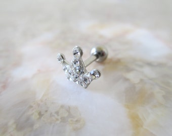 Princess Crown Paved Clear Rhinestone Cartilage Ear Piercing