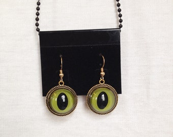 Resin Green Cat Eye Earrings, Gold Tone, Pierced, Eye Jewelry