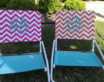 Pink Monogram Chevron Beach Chair Slip Covers
