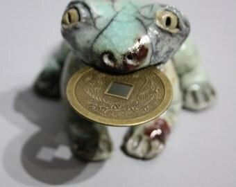 raku ceramic frog feng shui