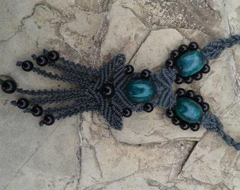 waxed  cotton micro macrame necklace