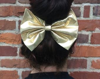 Metallic Gold Hair Bow