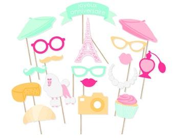 Printable Paris Photo Booth Props - Paris Photobooth Props - Paris Birthday Instant Download Props - Joyeux Anniversaire Photo Booth