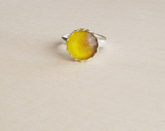 Yellow leaf ring Adjustable ring Rustic jewelry Statement ring Leaf texture Glass dome jewelry Anniversary gift for her  Victorian vintage
