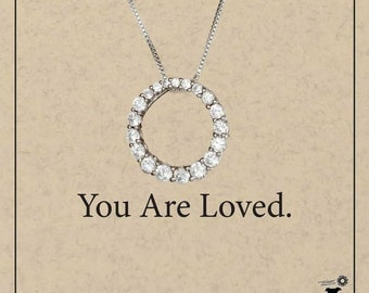 Sterling Silver Graduated Cubic Zirconia Eternity Circle Pendant Necklace