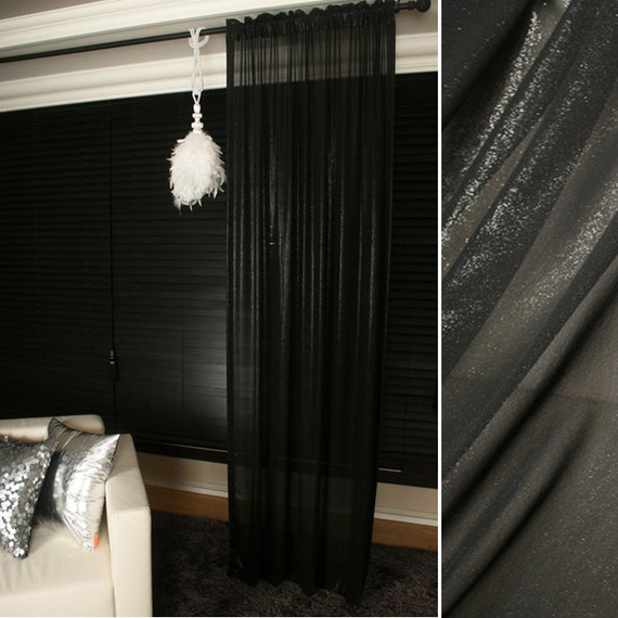 shiny black sheer glitter chiffon curtain plain voile