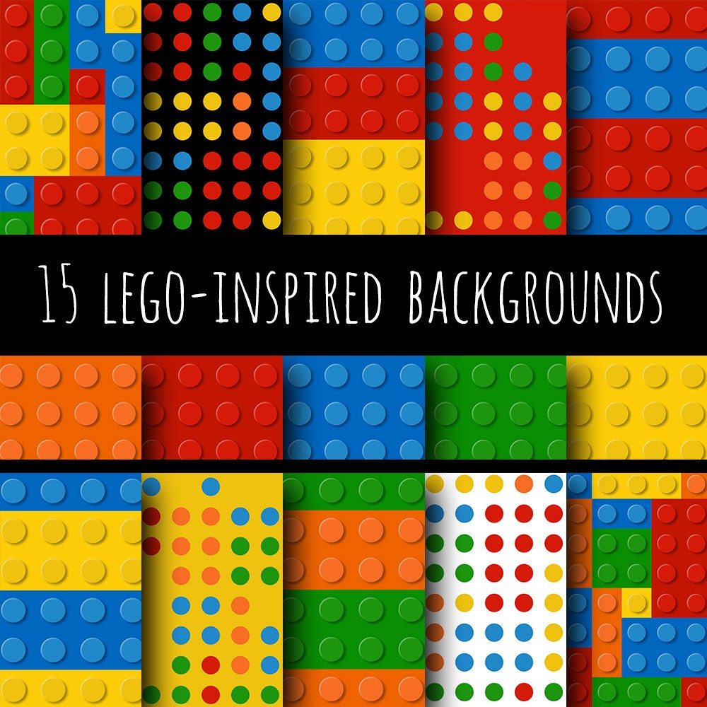 Digital Paper Legos Inspired Backgrounds 15 by IdRatherDoodle