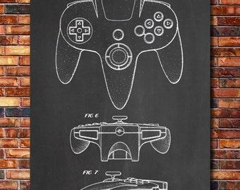 Nintendo 64 Controller Patent Print Art 1994 A