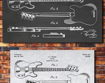Fender Electric Guitar Patent Print Art 1953
