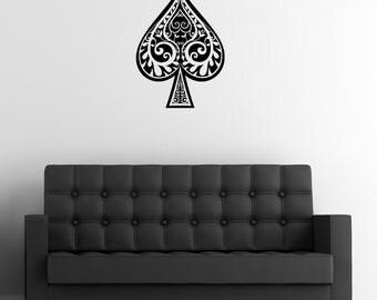 "Spade Wall Decal / Decorative Poker Wall Sticker (18"" x 24.8"")"