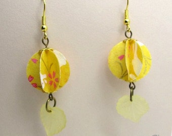 Origami Yellow Lantern Earrings