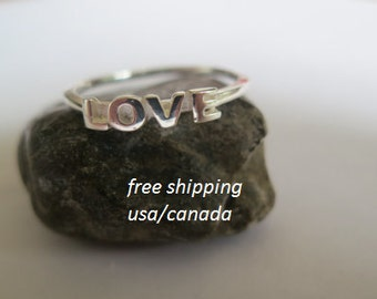 Silver love ring; 92.5 sterling silver