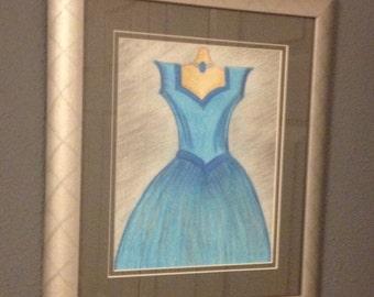 Handmade / wall decor / girls room / princess / blue / grey / dresses / blue dress / silver frame / wall art / drawings /  fashion pictures