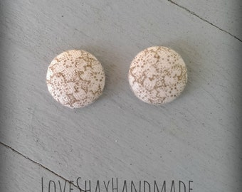Taupe and Cream Floral Fabric Button Earrings