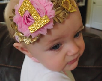 Baby girl first birthday headband
