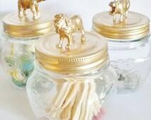 Set of 3 Jungle Animal Jars, gold home decor, gold jar, metallic gold, animal theme, gift idea, jar gift, painted mason jar, jungle animals