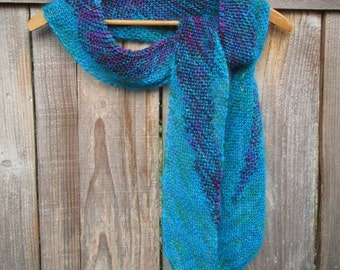 Blue Scarf | Aqua Scarf | Knit Scarf | Wearable Art | Unique Gifts | Luxury Scarves | Scarf | Women's Scarves | Handmade Gift