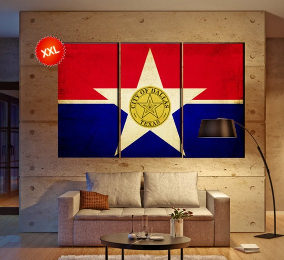 LARGE 3 panels / boards wrapped stretched City of Dallas flag, Big D canvas wall art Giclee Art wall  art Repro