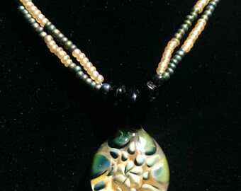 Blue, Cream, Green Gold and Silver Handblown Glass Boro Lampwork Pendant
