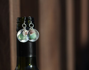 Silver Disc, Feather Drops with Green Quartz and Pink Pearl