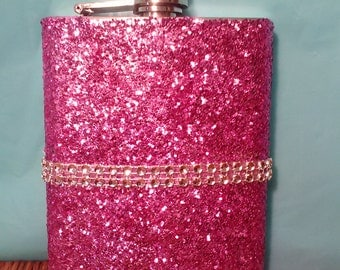 Glitter Stainless Steel Flask (8oz) (Your Choice of Color)