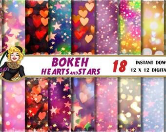 Star Bokeh digital paper, Heart bokeh, bokeh background, digital bokeh, colorful bokeh, Pink, Red bokeh, rainbow bokeh, bokeh scrapbook